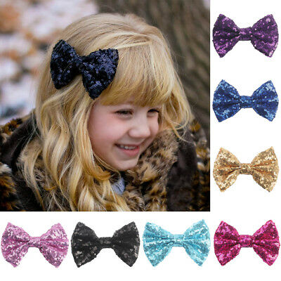 Baby Kids Girls Cute Sequin Glitter Bowknot Hair Clip Headwear Hair Accessories