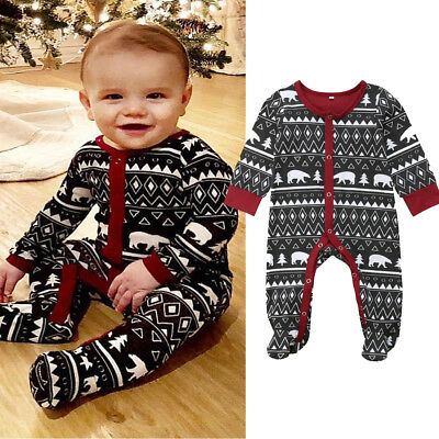 Newborn Baby Boy Girl Christmas Bodysuit Romper Outfit Clothes Pajamas Sleepsuit