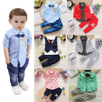 Kids Baby Boys Toddler Infant T-shirt Tops+Pants Wedding Party Suit Outfits Sets
