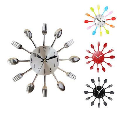 Home Decoration Cutlery Kitchen Utensil Spoon Fork Clock Wall Clock Living Room