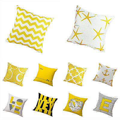 Comfortable Throw Pillow Case Mustard Yellow Fabric Cushion Cover Decorative UK