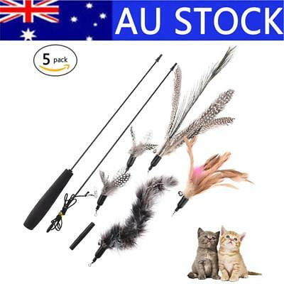 Kitten Cat Toy Rod Teaser Bell Feather Play Pet Dangler Wand With 5 Heads