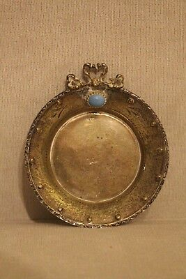 Antique Vintage 925 Silver small Tray with light blue stone