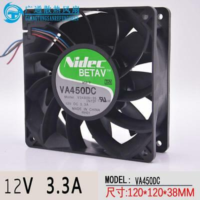 NIDEC VA450DC-V34809-90 120mmX38mm Bearing Fan DC12V 3.3A 4-Wire 220CFM MM-301
