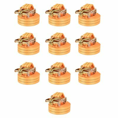 Sangle d'Arrimage à Cliquet 10 Pcs 1 Tonne 6 m x 38 mm Orange Transport Z2E6