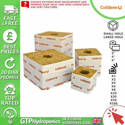 "Cultilene - Rockwool Cubes - Grow Blocks 3"" 4"" 6"" Small Large Hole - Hydroponics"
