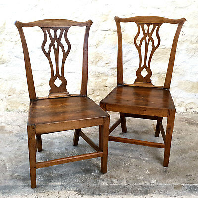 Georgian Chippendale Style Pair of Elm Hall Chairs C1800 (George III Antique)