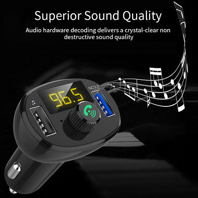 Bluetooth Car MP3 Player FM Transmitter Wireless Radio Adapter USB Quick Charger