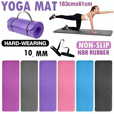 Large 10mm Thick Yoga Mat for Pilates Gymnastics Exercise with Carrier Strap UK