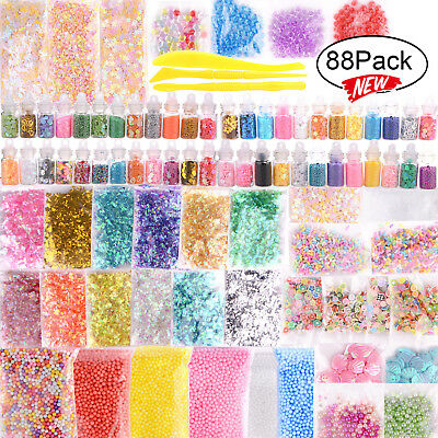 88Pcs DIY Slime Making Supplies Tool Kit Beads Charms Kids Craft Toy AU Stock