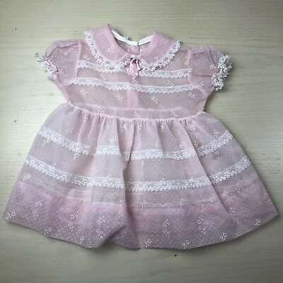 Vintage Pink Sheer Flocked Floral Dress 2t 1950s Party Birthday