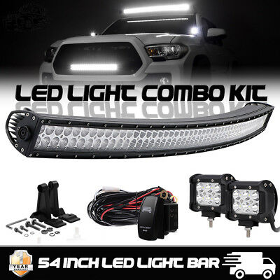 """Curved 52Inch LED Light Bar +4"""" CREE PODS Kit OFFROAD SUV 4WD ATV VS 52/42/20"""