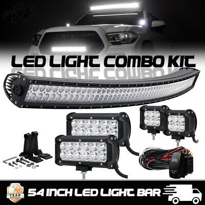 """Curved 54 Inch LED Light Bar + 6"""" +4"""" CREE PODS OFFROAD SUV 4WD ATV VS 52/42/20"""