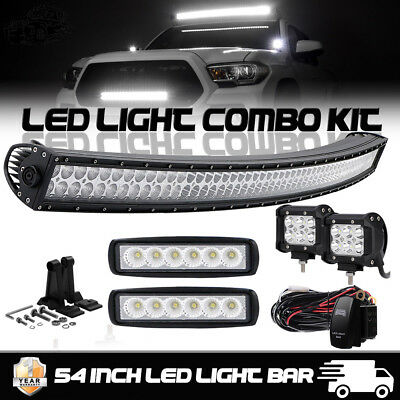 Curved 54Inch LED Light Bar + 6 inch CREE PODS OFFROAD SUV 4WD ATV VS 52/42/20