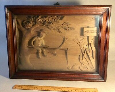 German Style Carved Wood Diorama Of A Boy Fishing C1900:  Probably Bavarian.