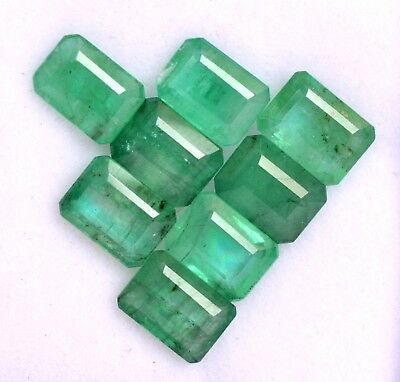 7x5 mm Natural Emerald Octagon Cut Lot 08 Pcs Certified Untreated Loose Gemstone