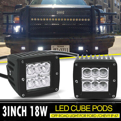 "2pcs 3""Inch Led Light Pods 18W Fog Work Cube Lamps Flood Off-Road SUV UTV Lights"