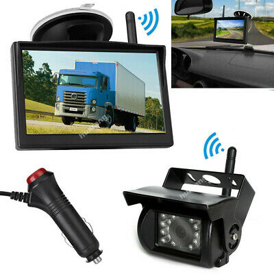 "12V-24V Wireless 5"" LCD Monitor+RV Truck Trailer IR Rear View Reversing Camera"