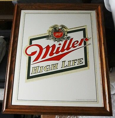America's Quality Beer Miller High Life Wood Frame Mirror/Sign