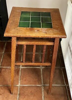 Original oak & tiled Arts and Crafts plant stand table circa.1900