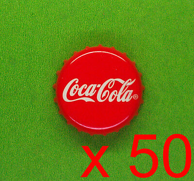 LOT x50 Coca Cola Coke red metal crown bottle cap Craft Project NO MARKS, GREAT!