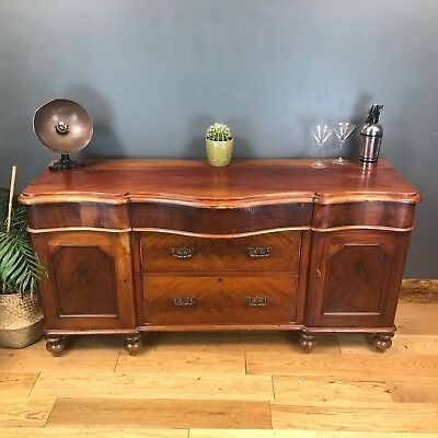 Antique Flame Mahogany Server Credenza Buffet Sideboard Vintage Cupboard Drawers