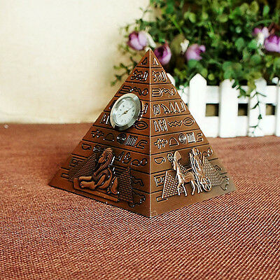 Clcok Egyptian Pyramid Decorative Metal Statue Decoration Desk Car Ornaments