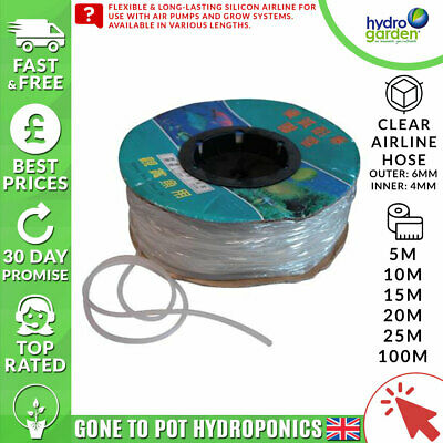 Clear Airline Hose - Lengths: 5m/10m/15m/20m/25m/100m - Outer: 6mm Inner: 4mm