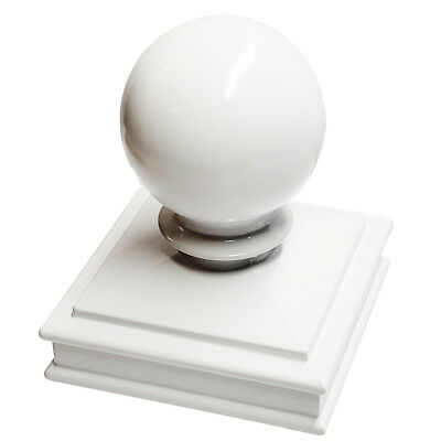 "3"" x 3"" Decorex Hardware Aluminium Ball Top Post Cap for Metal Posts - White"