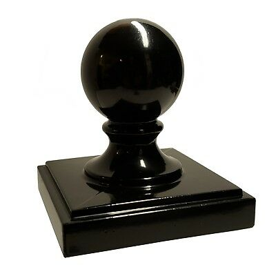 "4"" x 4"" Decorex Hardware Aluminium Ball Top Post Cap for Metal Posts - Black"