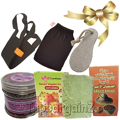 Pure Prickly Pear Oil Moroccan Hammam Spa Black Beldi Soap Kessa Glove Gift Set
