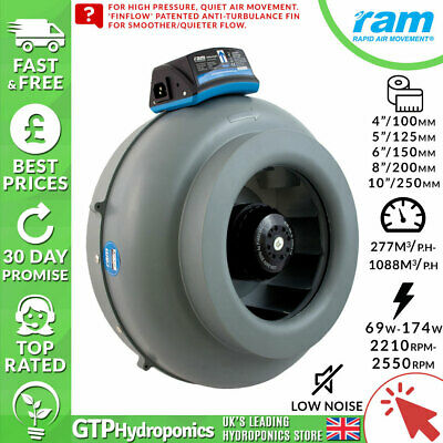 "RAM Inline Duct Fan 4/5/6/8/10"" Inches 100/125/150/200/250mm Grow Ventilation"