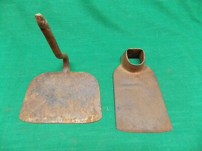 Lot 2 vtg garden hoe heads. Forged steel oil tempered eye hoe. Primitive Rustic