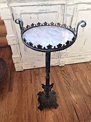 Antique Victorian Wrought Cast Iron Marble Plant Table Stand