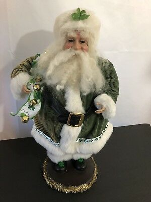 St. Patrick's Day Vintage Santa Claus 4 Leaf Clover Standing Christmas Imperfect
