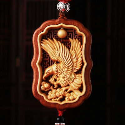 Hollow Out inlay Wood Carving Chinese Eagle Statue Sculpture Amulet Car Pendant