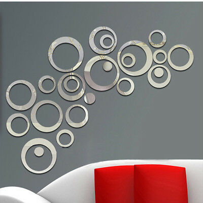 24pcs Circles Mirror Wall Sticker DIY Decal Vinyl Mural Home Decor Removable 3D