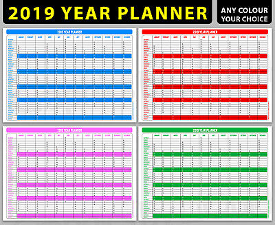 2019 LARGE Size Year Wall Planner Year Calendar Holiday Plan Annual Planner