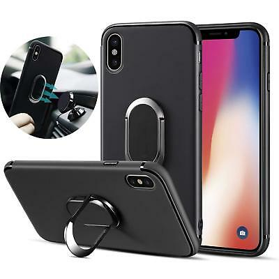 For iPhone X 7 Plus 8 Plus Magnetic TPU Rubber Case Cover With Ring Stand Holder