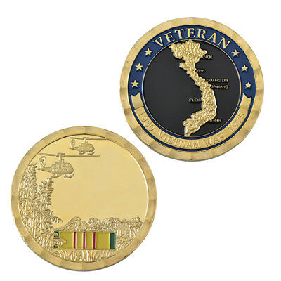VIETNAM WAR US Military Challenge Gold Plated Coin Gift For