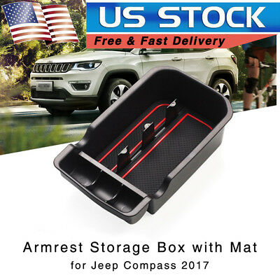 Car Armrest Storage Box for Jeep Compass 2017 2018 Center Console Tray Organizer
