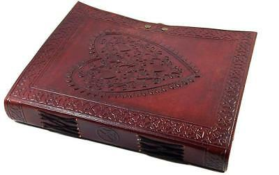 Vintage Large Heart Leather Journal Embossed Travel Diary Handmade Bound