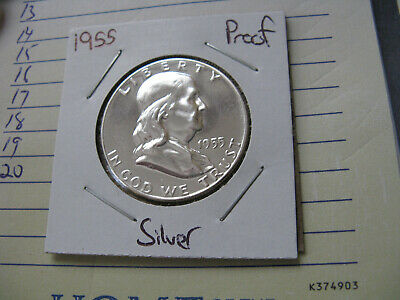 1955 PROOF FRANKLIN SILVER HALF DOLLAR    #2    VERY NICE COIN #af