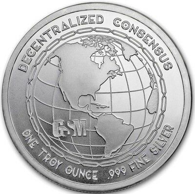 1 oz. .999 Pure Fine Solid Silver Art-Round ~ BITCOIN ~ in Hard Round Capsule