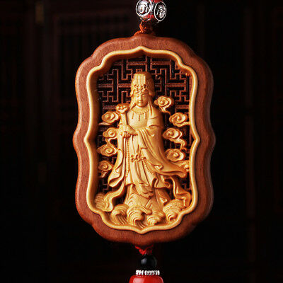 Hollow Out inlay Wood Carving Chinese Mazu Kwan Yin Sculpture Amulet Car Pendant