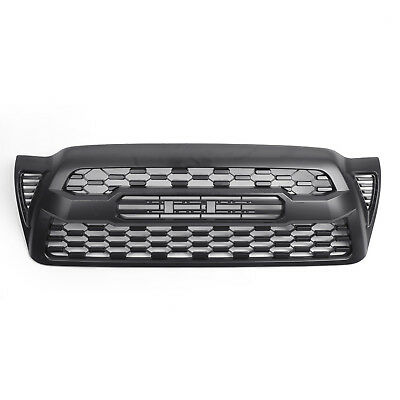 For 2005-2011 Toyota Tacoma Front Bumper Hood Grille Grill Matte Black W/Logo B1