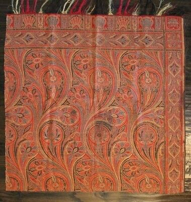 "Antique Old Wool Paisley Shawl Cutter Fabric c1860-70 33"" Square"