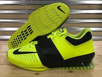 separation shoes 0ddca 1d2a4 Nike Romaleos 3 Weightlifting Crossfit Trainer Shoes Volt Black SZ (852933- 700)