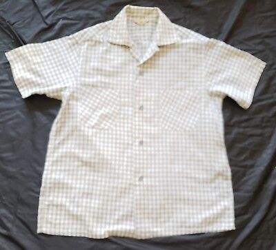 VINTAGE 50s COTTON GRAY CHECK MADE IN CALIFORNIA  ROCKABILLY TOP LOOP SHIRT M