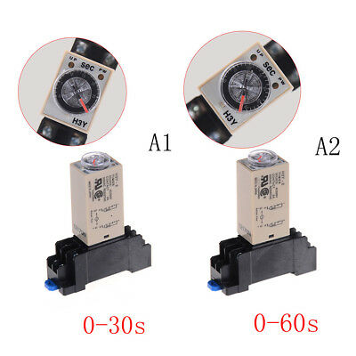 220V H3Y-2 Power On Time Relay Delay Timer 0-30s/60s DPDT & Base Socket RGZY—AY